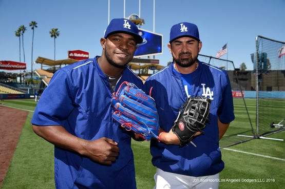 Los Angeles Dodgers Yasiel Puig and Adrian Gonzalez pose prior to game against San Francisco Giants Saturday, April 16, 2016 at Dodger Stadium.