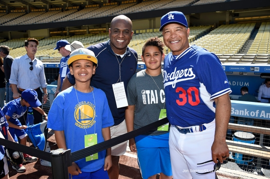 Los Angeles Dodgers Dave Roberts and friends pose prior to game against San Francisco Giants Saturday, April 16, 2016 at Dodger Stadium.