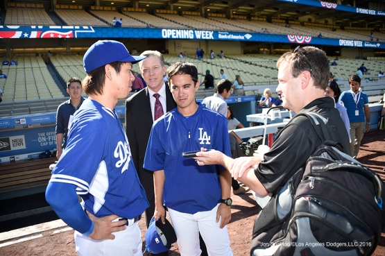 Los Angeles Dodgers Kenta Maeda talks to the media (Bomber Orel) prior to game against San Francisco Giants Saturday, April 16, 2016 at Dodger Stadium.