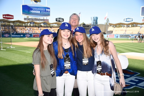 Great Los Angeles Dodger fans pose(Bomber Orel) prior to game against San Francisco Giants Saturday, April 16, 2016 at Dodger Stadium.