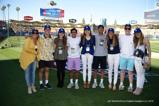 Great Los Angeles Dodger fans pose prior to game against San Francisco Giants Saturday, April 16, 2016 at Dodger Stadium.