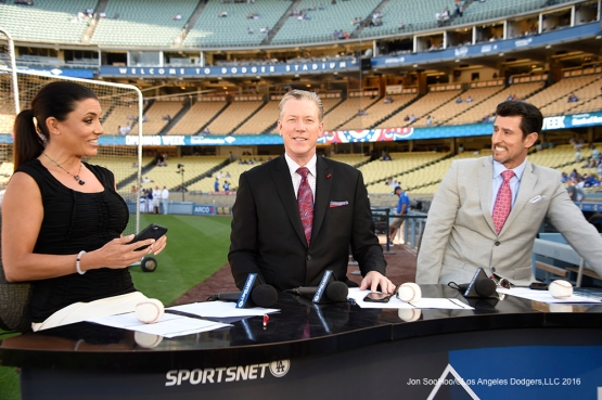 Best expression ever of SportsNet LA team prior to Los Angeles Dodgers game against San Francisco Giants Saturday, April 16, 2016 at Dodger Stadium.