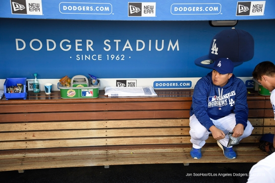 Los Angeles Dodgers Hyun-jin Ryu prior to game against San Francisco Giants Saturday, April 16, 2016 at Dodger Stadium.