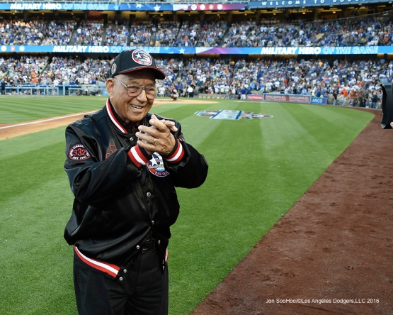 Military Hero of the Game-World War II Tuskegee Airman, US Air Force Lieutenant Colonel, Robert J. Friend waves to the crowd during Los Angeles Dodgers  game against San Francisco Giants Saturday, April 16, 2016 at Dodger Stadium.