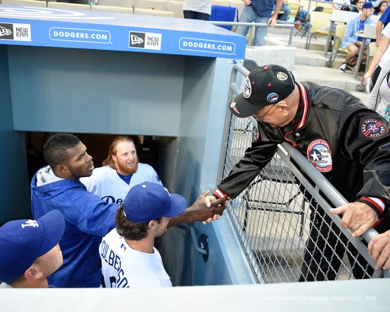 Military Hero of the Game-World War II Tuskegee Airman, US Air Force Lieutenant Colonel, Robert J. Friend meets some of the team  Saturday, April 16, 2016 at Dodger Stadium.