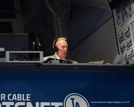 Vin Scully in the booth during the game against San Francisco Giants Saturday, April 16, 2016 at Dodger Stadium.