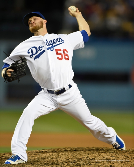Los Angeles Dodgers J.P.Howell against San Francisco Giants Saturday, April 16, 2016 at Dodger Stadium.