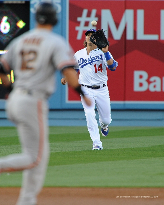 Los Angeles Dodgers Kike Hernandez against San Francisco Giants Saturday, April 16, 2016 at Dodger Stadium.