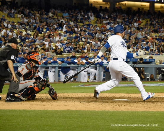 Yasmani Grandal doubles in the 9th against San Francisco Giants Saturday, April 16, 2016 at Dodger Stadium.