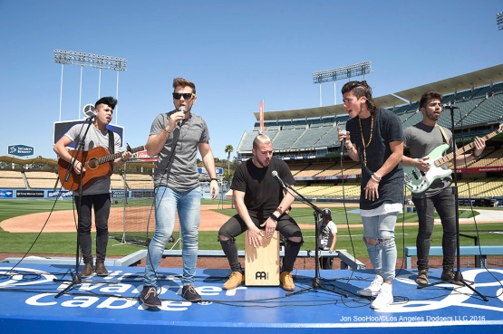 Los 5 performs prior to Los Angeles Dodgers game against San Francisco Giants Sunday, April 17, 2016 at Dodger Stadium. The Dodgers beat the Giants 3-1.