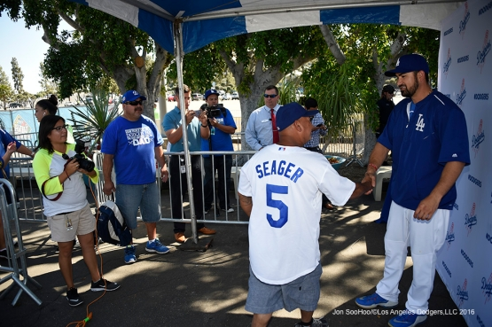 Adrian Gonzalez poses for Blue Prints with fans prior to Los Angeles Dodgers game against San Francisco Giants Sunday, April 17, 2016 at Dodger Stadium. The Dodgers beat the Giants 3-1.