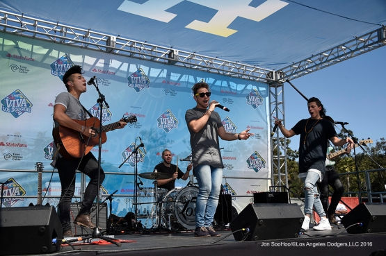 Los 5 performs at Viva Los Dodgers prior to game against San Francisco Giants Sunday, April 17, 2016 at Dodger Stadium. The Dodgers beat the Giants 3-1.
