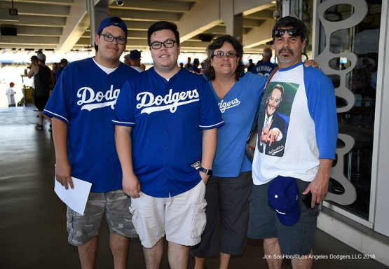 Great Los Angeles Dodger fans pose prior to game against San Francisco Giants Sunday, April 17, 2016 at Dodger Stadium. The Dodgers beat the Giants 3-1.