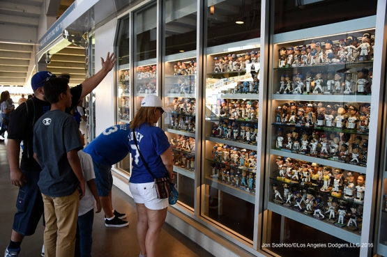 Los Angeles Dodgers Bobblehead collection of Mitch Poole on display Sunday, April 17, 2016 at Dodger Stadium. The Dodgers beat the Giants 3-1.