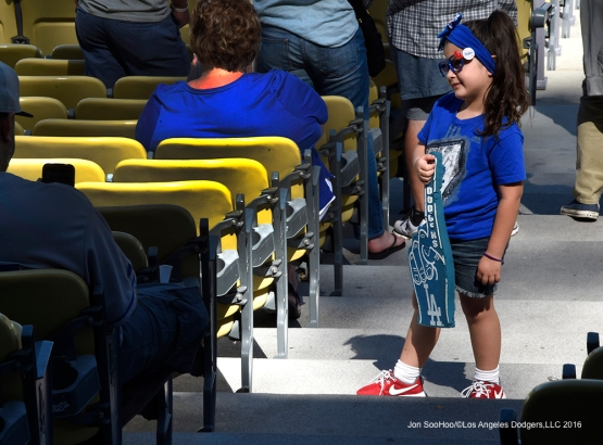 Great Los Angeles Dodger fans poses for a picture prior to game against San Francisco Giants Sunday, April 17, 2016 at Dodger Stadium. The Dodgers beat the Giants 3-1.
