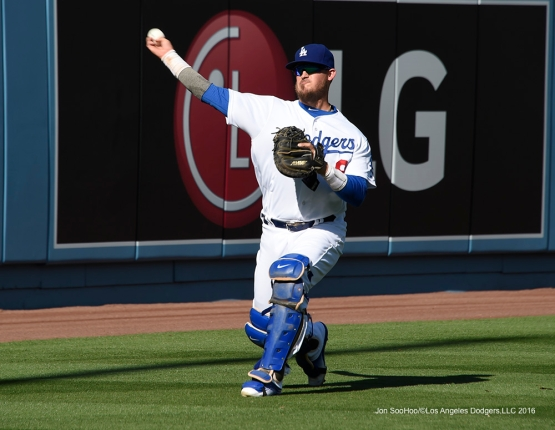 Los Angeles Dodgers Yasmani Grandal warms up prior to game against San Francisco Giants Sunday, April 17, 2016 at Dodger Stadium. The Dodgers beat the Giants 3-1.