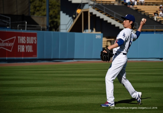 Los Angeles Dodgers Kenta Maeda warms up prior to game against San Francisco Giants Sunday, April 17, 2016 at Dodger Stadium. The Dodgers beat the Giants 3-1.