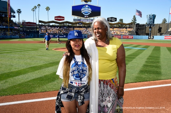 Breaking  Barriers essay winner Precious Rodriguez poses with Sharon Robinson prior to Los Angeles Dodgers game against San Francisco Giants Sunday, April 17, 2016 at Dodger Stadium. The Dodgers beat the Giants 3-1.