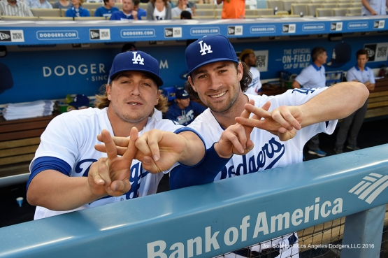 Los Angeles Dodgers prior to game against San Francisco Giants Sunday, April 17, 2016 at Dodger Stadium. The Dodgers beat the Giants 3-1.