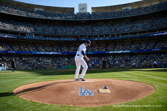 Kenta Maeda on the mound prior to game against San Francisco Giants Sunday, April 17, 2016 at Dodger Stadium. The Dodgers beat the Giants 3-1.