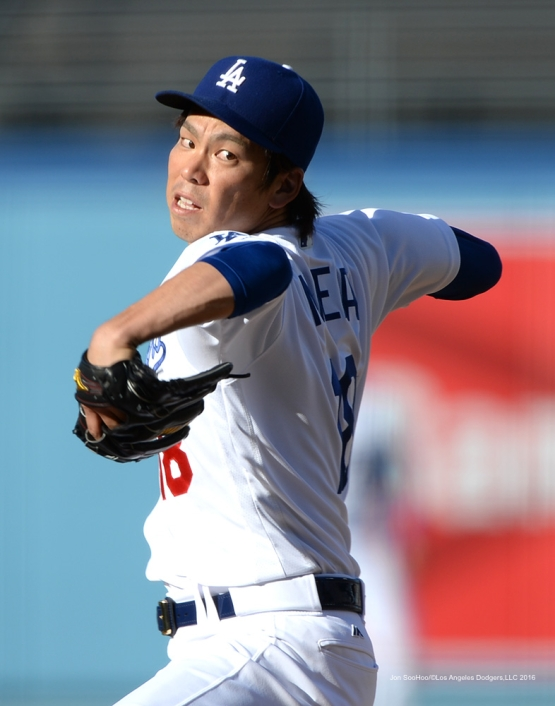 Kenta Maeda pitches against San Francisco Giants Sunday, April 17, 2016 at Dodger Stadium. The Dodgers beat the Giants 3-1.