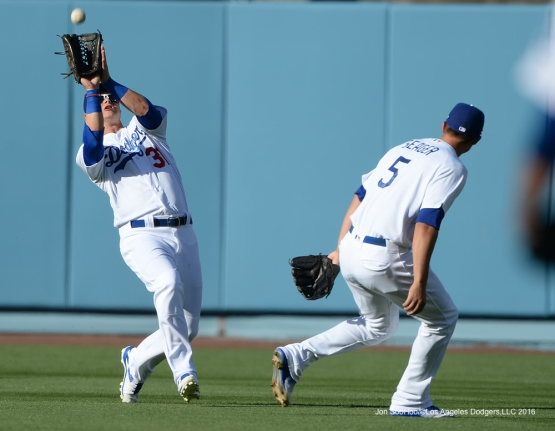 Joc Pederson hauls in ball  against San Francisco Giants Sunday, April 17, 2016 at Dodger Stadium. The Dodgers beat the Giants 3-1.