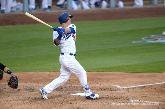 Los Angeles Dodgers Joc Pederson homers during game against San Francisco Giants Sunday, April 17, 2016 at Dodger Stadium. The Dodgers beat the Giants 3-1.