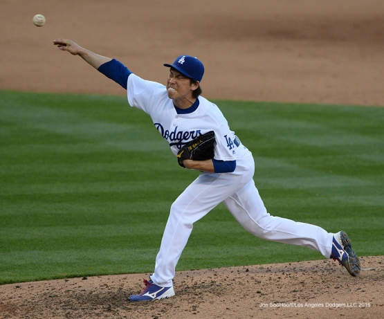 Los Angeles Dodgers Kenta Maeda pitches against San Francisco Giants Sunday, April 17, 2016 at Dodger Stadium. The Dodgers beat the Giants 3-1.