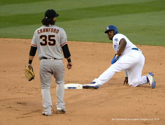Yasiel Puig is safe at second during  game against San Francisco Giants Sunday, April 17, 2016 at Dodger Stadium. The Dodgers beat the Giants 3-1.