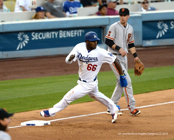 Yasiel Puig heads home during game against San Francisco Giants Sunday, April 17, 2016 at Dodger Stadium. The Dodgers beat the Giants 3-1.