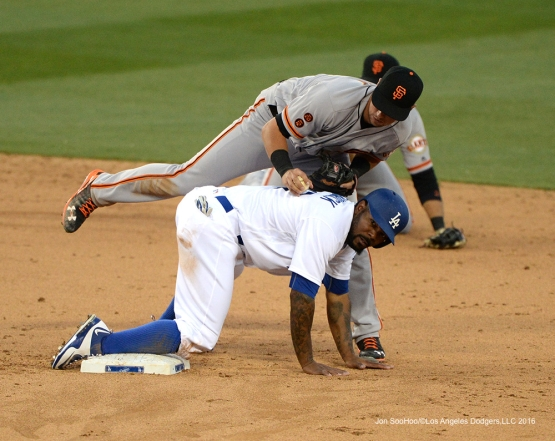 Howie Kendrick breaks up double play during game against San Francisco Giants Sunday, April 17, 2016 at Dodger Stadium. The Dodgers beat the Giants 3-1.