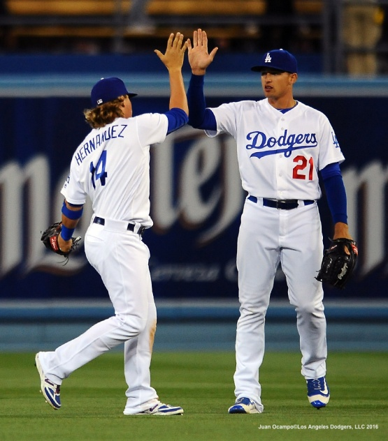 Enrique Hernandez and Trayce Thompson celebrate the Dodgers 3-1 win over the Giants.