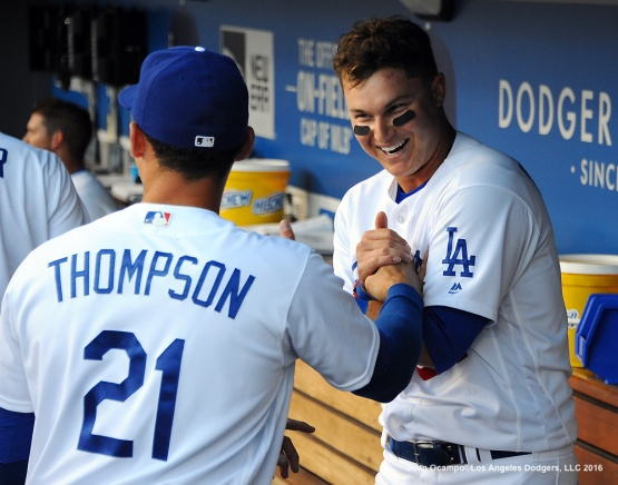 Joc Pederson is congratulated by Trayce Thompson.