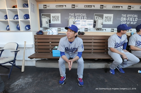 Los Angeles Dodgers Kenta Maeda prior to game against the San Diego Padres Monday, April 4, 2016 at Petco Park in San Diego,California. The Dodgers beat the Padres 15-0