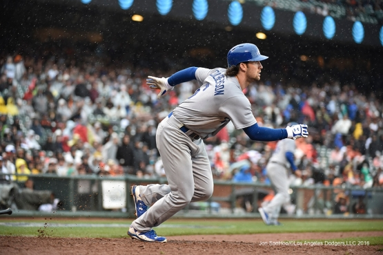 Los Angeles Dodgers Charlie Culbertson gets go ahead RBI against the San Francisco Giants Saturday, April 9, 2016 at AT&T Park in San Francisco,California. The Dodgers beat the Giants 3-2.