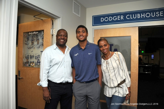 Rodney Peete, son RJ and wife Holly Robinson pose prior to the Los Angeles Dodgers  game against Miami Marlins Tuesday, April 26, 2016 at Dodger Stadium.