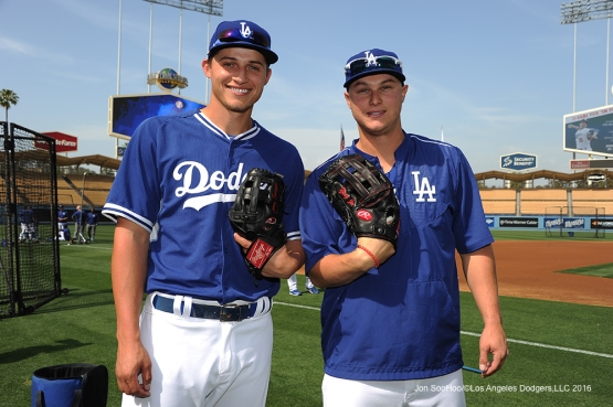 Los Angeles Dodgers Corey Seager and Joc Pederson pose prior to game against Miami Marlins Tuesday, April 26, 2016 at Dodger Stadium.