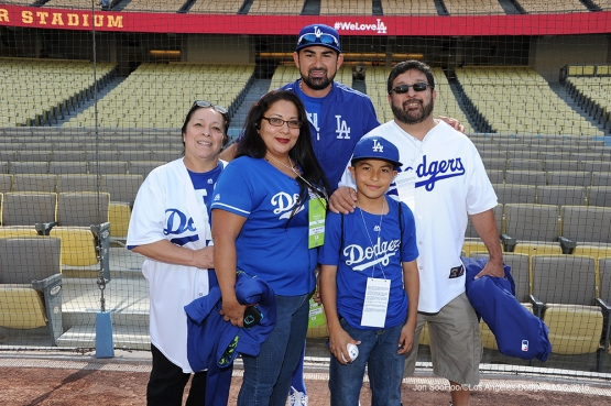 Great Los Angeles Dodger fans pose with Adrian Gonzalez prior to game against Miami Marlins Tuesday, April 26, 2016 at Dodger Stadium.