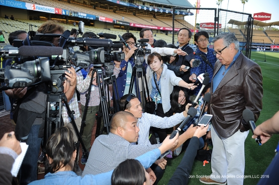 Jaime Jarring speaks to the media regarding Earthquake Relief before Los Angeles Dodgers game against Miami Marlins Tuesday, April 26, 2016 at Dodger Stadium.