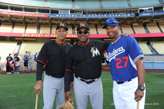 Lorenzo Bundy, Lenny Harris and George Lombard pose prior to game against Miami Marlins Tuesday, April 26, 2016 at Dodger Stadium.