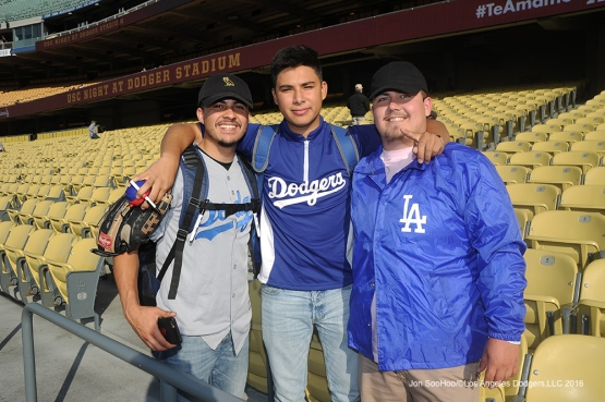 Great Los Angeles Dodger fans pose  prior to game against Miami Marlins Tuesday, April 26, 2016 at Dodger Stadium.