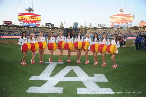 USC Song Girls pose prior to game against Miami Marlins Tuesday, April 26, 2016 at Dodger Stadium.