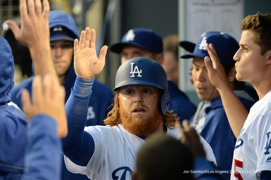 Justin Turner scores against Miami Marlins Tuesday, April 26, 2016 at Dodger Stadium.