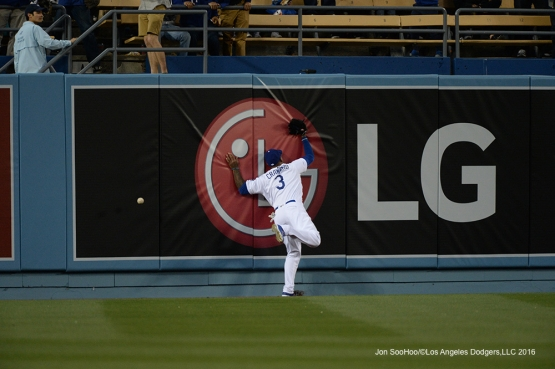 Los Angeles Dodgers Carl Crawford during game against Miami Marlins Tuesday, April 26, 2016 at Dodger Stadium.