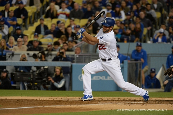 Los Angeles Dodgers Clayton Kershaw doubles against the Miami Marlins Tuesday, April 26, 2016 at Dodger Stadium.
