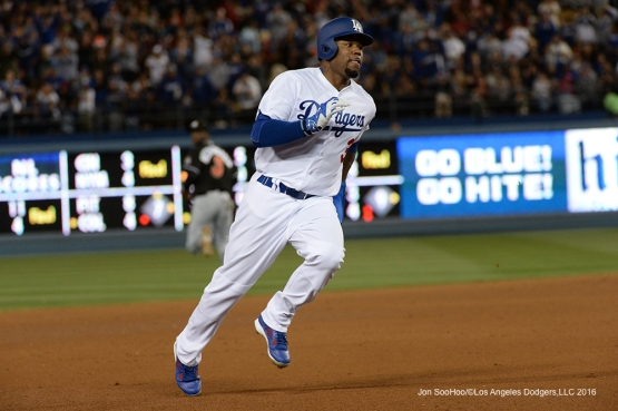 Los Angeles Dodgers Carl Crawford takes third prior  against the Miami Marlins Tuesday, April 26, 2016 at Dodger Stadium.