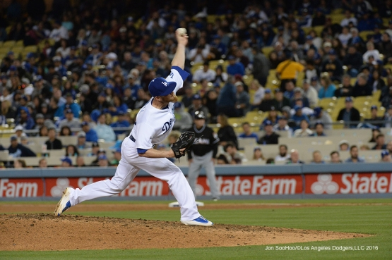 Los Angeles Dodgers J.P. Howell pitches against Miami Marlins Tuesday, April 26, 2016 at Dodger Stadium.