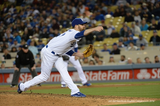 Los Angeles Dodgers Louis Coleman pitches against the Miami Marlins Tuesday, April 26, 2016 at Dodger Stadium.