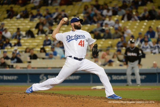 Los Angeles Dodgers Chris Hatcher pitches against the Miami Marlins Tuesday, April 26, 2016 at Dodger Stadium.