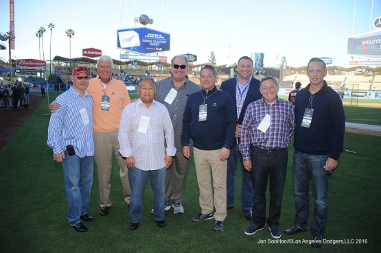 Guests of Mark Walter pose prior to game against Miami Marlins Wednesday, April 27, 2016 at Dodger Stadium.